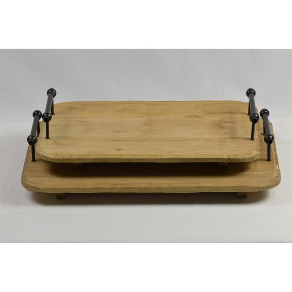 Wood 2 Piece Serving Tray Set by GT DIRECT CORP