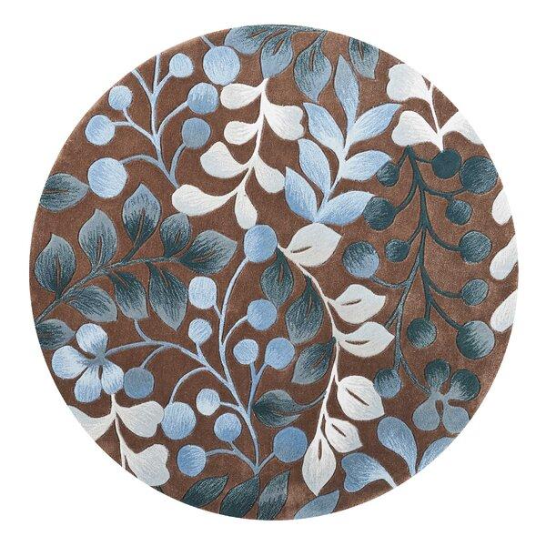 Brittni Hand-Tufted Mocha/Blue Area Rug by Red Barrel Studio
