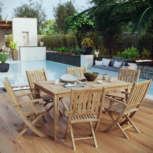 Cobb 7 Piece Teak Dining Set by Rosecliff Heights