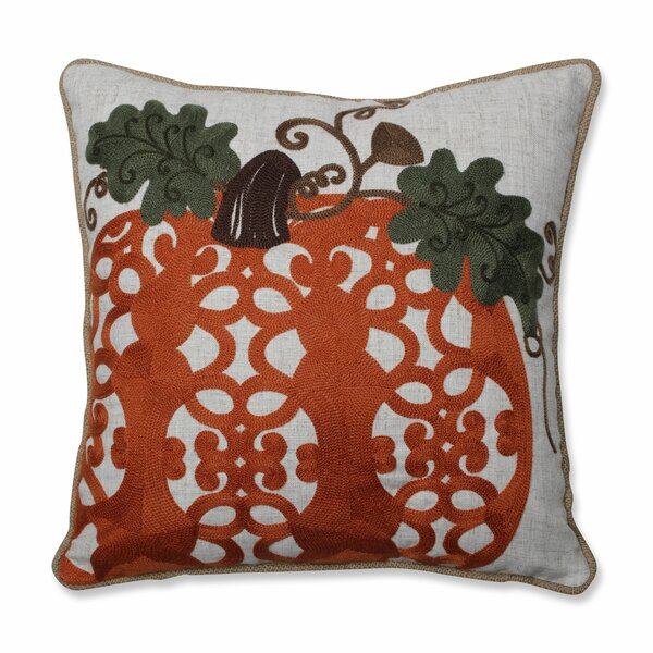 Chandelle Embroidered Pumpkin Throw Pillow by August Grove