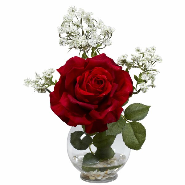 Rose & Gypso with Fluted Vase Silk Flower Arrangement by Nearly Natural