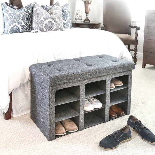 Foldable Tufted 9 Pair Shoe Storage Bench by Winston Porter