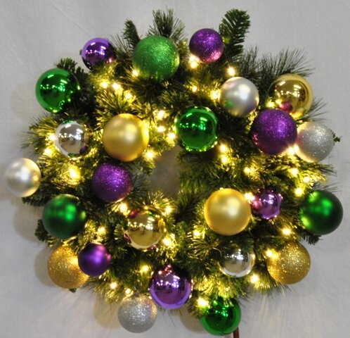 Pre-Lit Blended Pine Wreath Decorated with Mardi Gras Ornament by Queens of Christmas