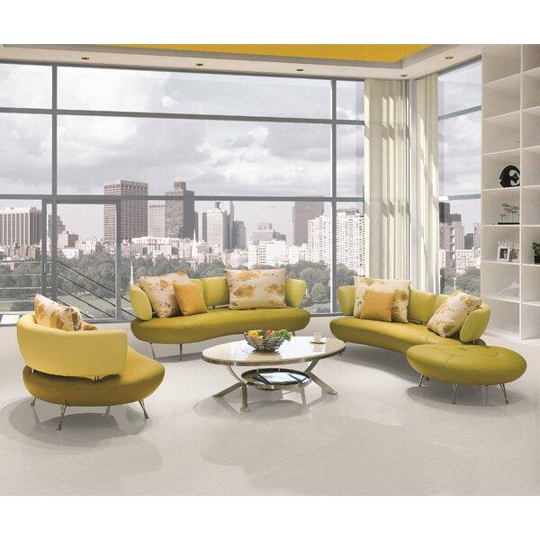 Palomo 4 Piece Leather Living Room Set by Orren Ellis