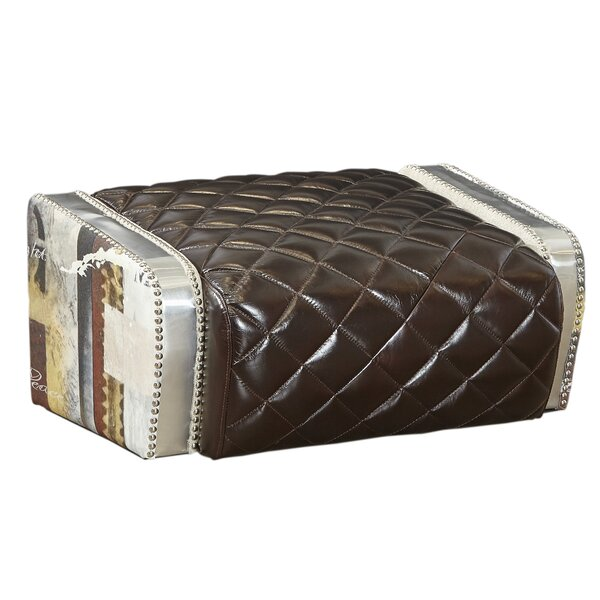 Marielle Leather Tufted Ottoman by Red Barrel Studio