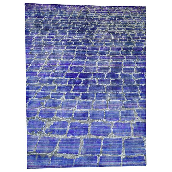 One-of-a-Kind Natoli Diminishing Bricks Sari with Oxidized Hand-Knotted Silk Blue Area Rug by Williston Forge