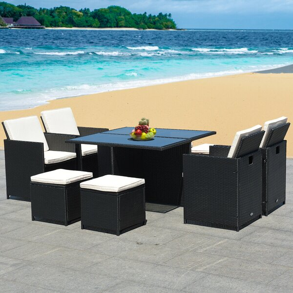 Odenville Patio 9 Piece Dining Set with Cushions by Latitude Run