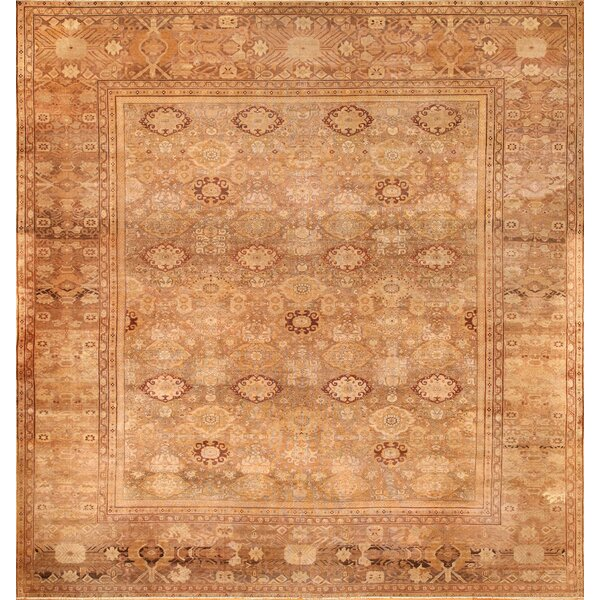One-of-a-Kind Amritsar Hand-Knotted Brown 15'8 x 17'4 Wool Area Rug