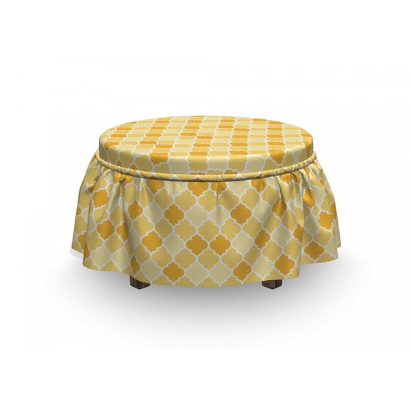 Quatrefoil Trellis In 2 Piece Slipcover Set 2 Piece Box Cushion Ottoman Slipcover Set By East Urban Home