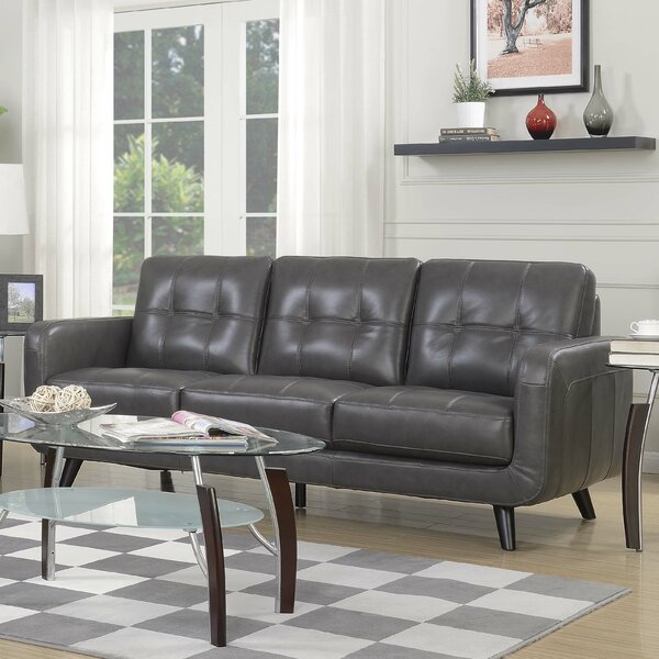 Best Savings For Pinehurst Genuine Leather Sofa by Langley Street by Langley Street