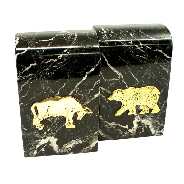 Marble Bookends with Stock Market Emblem by Bey-Berk