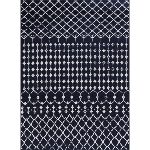 Peabody Moroccan Navy/Ivory Area Rug by Bungalow Rose