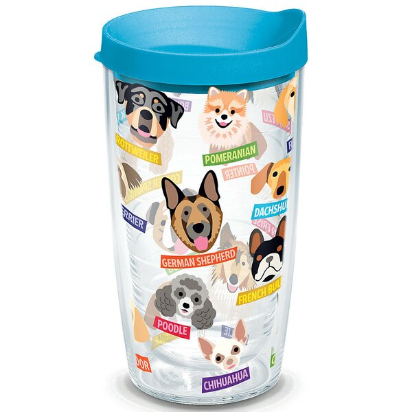 Pets Flat Art Dog Breed 16 oz. Plastic Travel Tumbler by Tervis Tumbler
