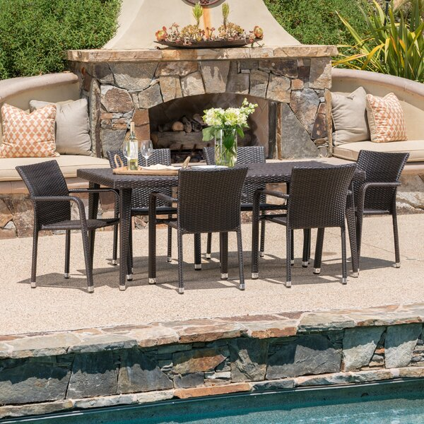 Georgene Outdoor Wicker 7 Piece Dining Set by Ivy Bronx