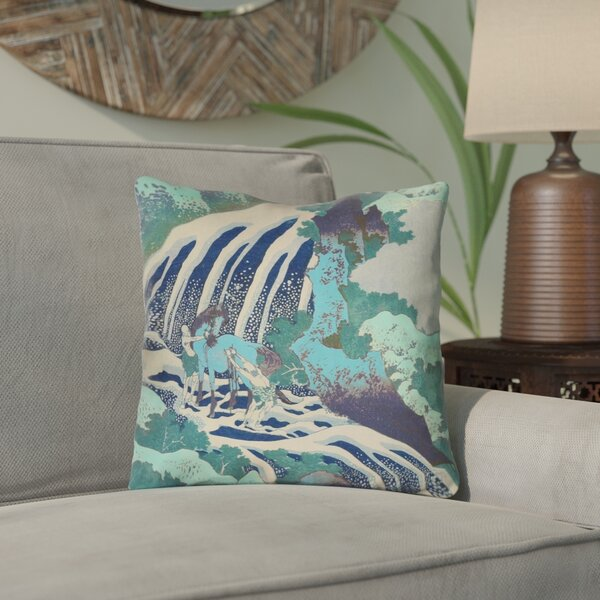Channelle and Waterfall in Teal Outdoor Throw Pillow by Bloomsbury Market