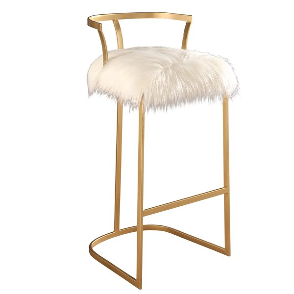 Charlita Faux Fur Bar Stool by Willa Arlo Interiors