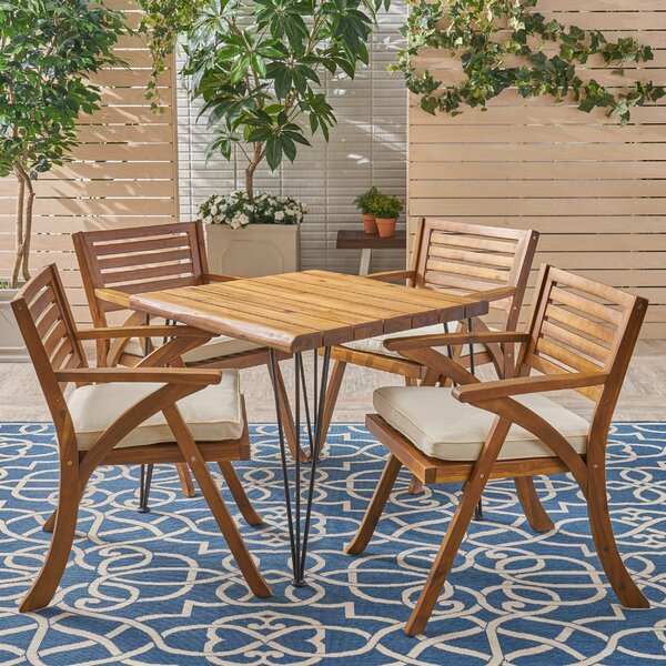 Liberatore 5 Pieces Dining Set with Cushions by Union Rustic