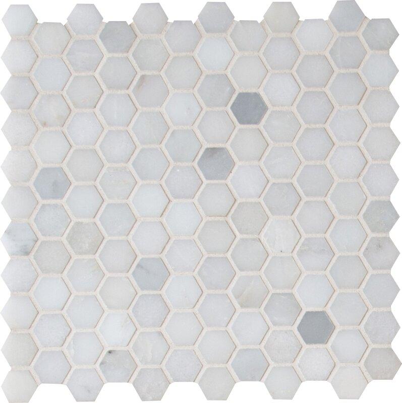 "Greecian White 1"" x 1"" Marble Tile in White #hexagon #marble #mosaic #floortile"