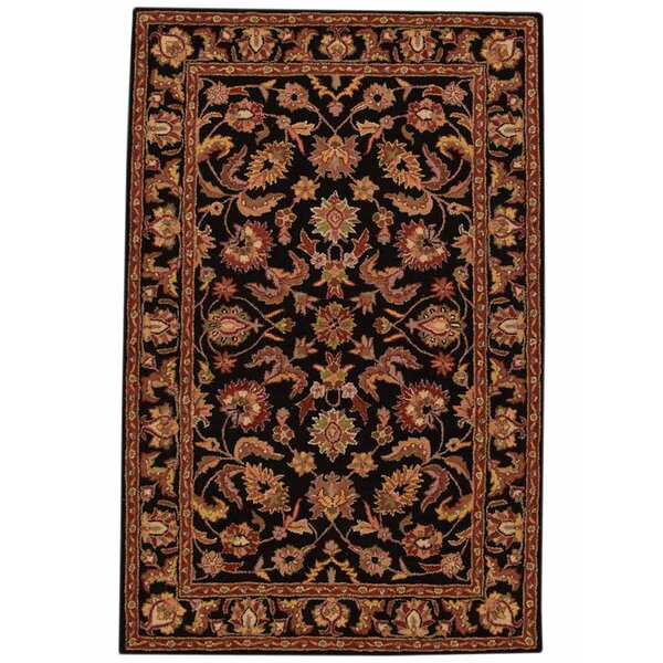 Pugh Agra Oriental Hand-Tufted Wool Navy/Beige Area Rug by World Menagerie