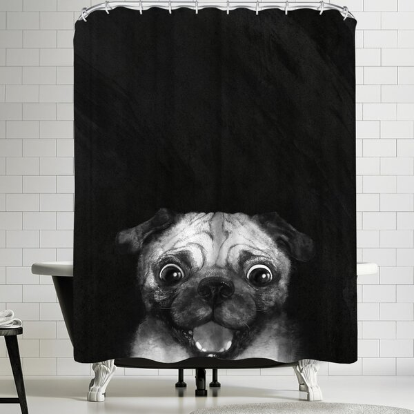 Laura Graves Snuggle Pug Shower Curtain by East Urban Home