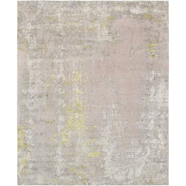 Modern Hand-Knotted Silk/Wool Beige/Gold Area Rug by Pasargad