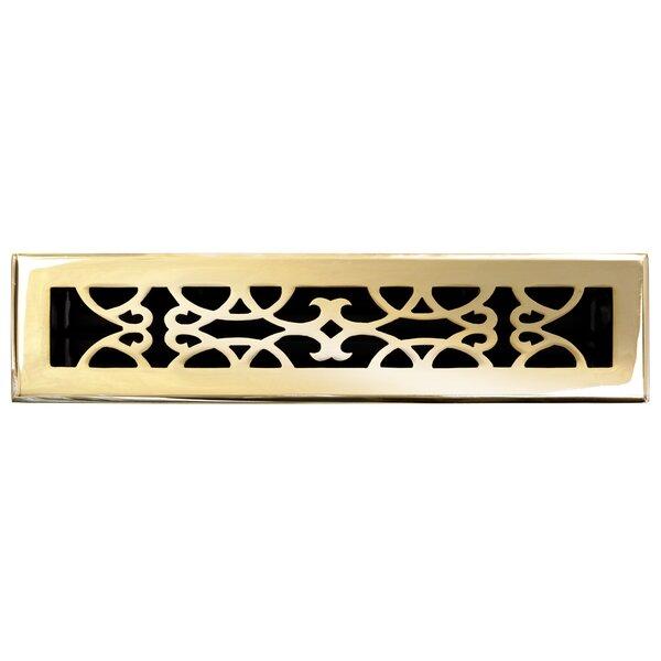 2.25 x 14 Solid Cast Brass Floor Register Trim in Polished Brass by Brass Elegans