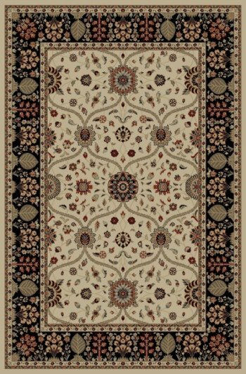 Jewel Voysey Ivory Floral Area Rug by Threadbind