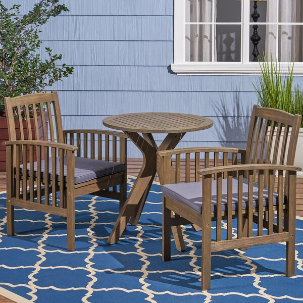 Restivo 3 Piece Bistro Set with Cushions by Breakwater Bay