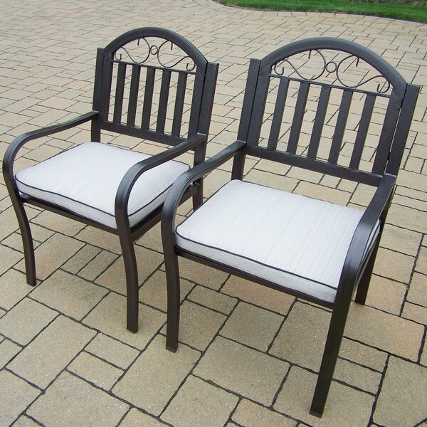 Lisabeth Patio Dining Chair with Cushion (Set of 2) by Red Barrel Studio
