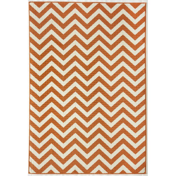 Halliday Orange/Ivory Indoor/Outdoor Area Rug by Beachcrest Home