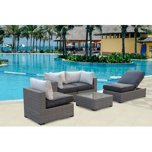 Bear Patio Wicker 5 Piece Rattan Conversation Set By Gracie Oaks