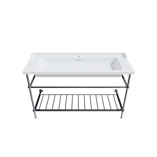 White Fireclay Rectangular Console Bathroom Sink with Overflow
