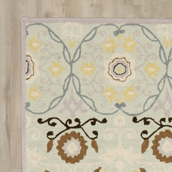 Pazar Hand-Hooked Light Blue/Ivory Area Rug by Bungalow Rose