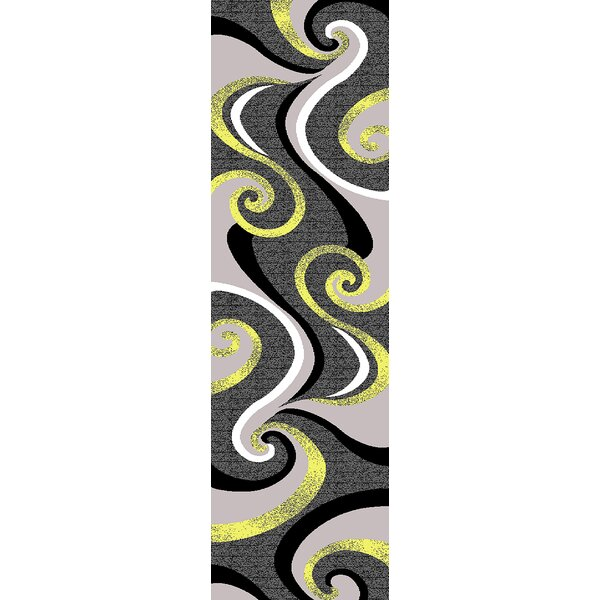 Mccampbell 3D Hand Carved Abstract Gray/Yellow Area Rug by Ivy Bronx