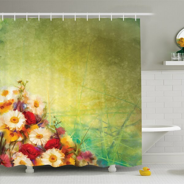 Watercolor Flower Home Romantic Bouquet Rose Chamomile Grunge Pastoral Scene Print Shower Curtain Set by Ambesonne