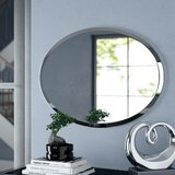 Provenzano Modern & Contemporary Beveled Frameless Oval Wall Mirror by Orren Ellis