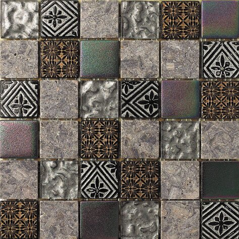 2 x 2 Glass and Natural Stone Mosaic Tile in 3 Color Blend by Intrend Tile