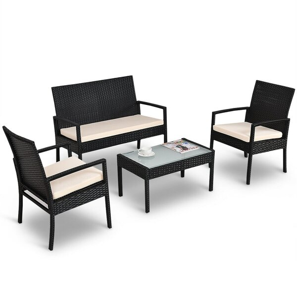 Elfreda 4 Piece Rattan Sofa Seating Group with Cushions by Latitude Run
