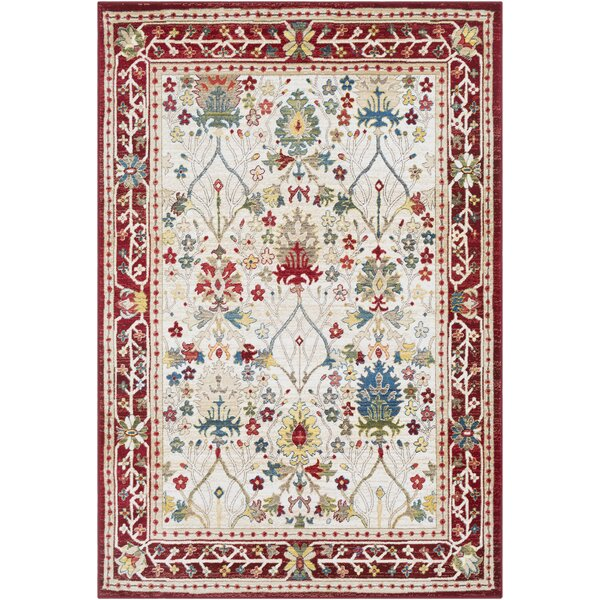 Arbouet Traditional Floral Dark Red/Cream Orange Area Rug by Charlton Home
