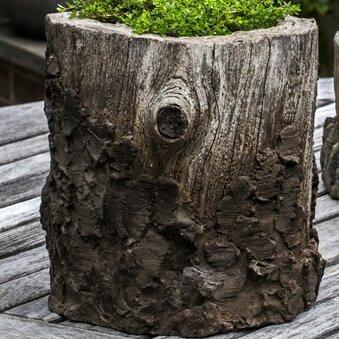 Faux Bois Cast Stone Pot Planter by Campania International