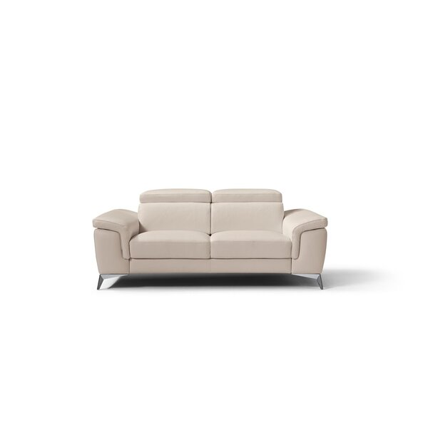 Mikayda Leather Love Seat by Orren Ellis