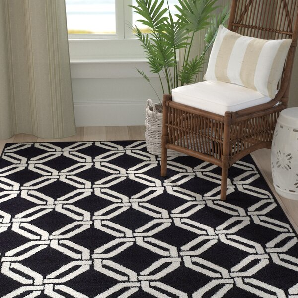 Crofoot Wool Black Indoor/Outdoor Area Rug by Breakwater Bay
