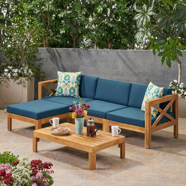 Reina Outdoor 5 Piece Sectional Seating Group with Cushions by Longshore Tides