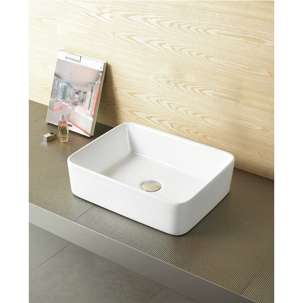 Above Counter Ceramic Rectangular Vessel Bathroom Sink with Overflow