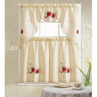 Merveilleux Apples 3 Piece Kitchen Curtain Set