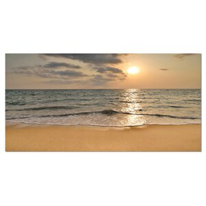 Dark Tropical Sand Beach at Sunset Photographic Print on Wrapped Canvas by Design Art