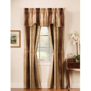 Roseline Striped Semi-Sheer Rod Pocket Curtain Panels