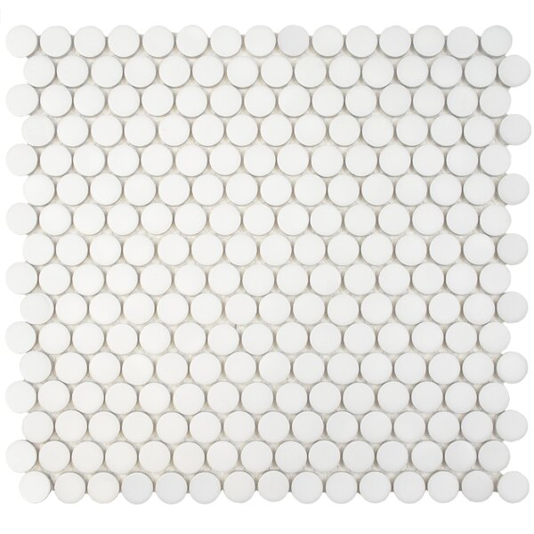 Penny 0.8 x 0.8 Porcelain Mosaic Tile in Matte White by EliteTile