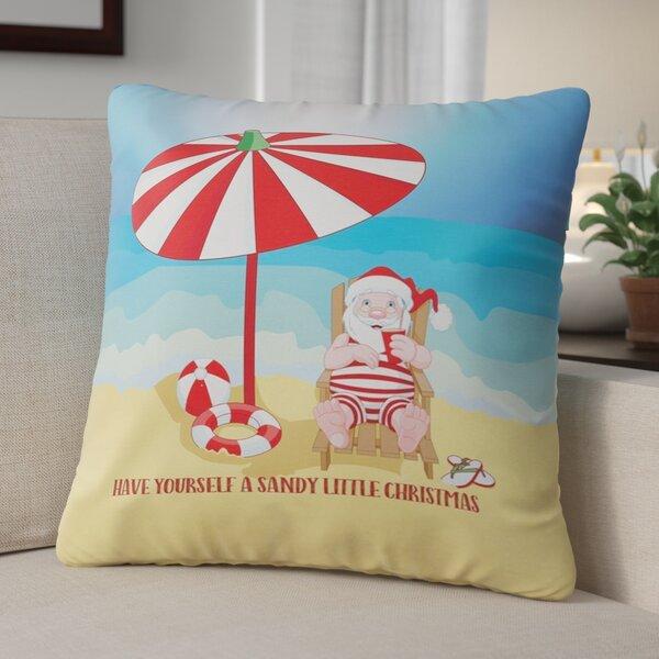 Beach Santa Christmas Throw Pillow by The Holiday Aisle