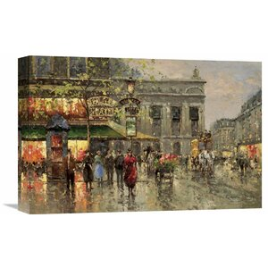 Vintage Parisian Street Scene' by Richards Painting on Wrapped Canvas by Global Gallery